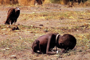 Iconic picture of the vulture and the little girl by Kevin carter who committed suicide 2 months after taking this picture