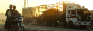 Russia and Syria deny striking UN aid convoy in Aleppo. Image Al Jazeera shows UN truck burned not bombed